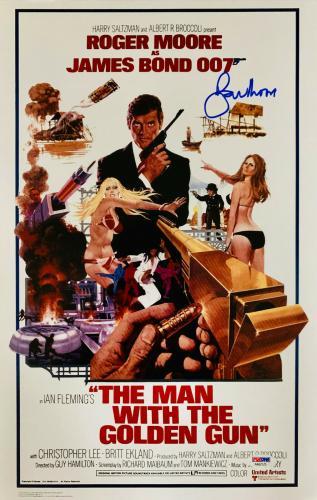 Roger Moore Signed James Bond 007 Movie Poster Photo 12 x 16 - PSA DNA COA