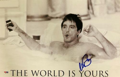 Al Pacino Signed 11 x 17 Scarface Movie Poster Photo Tony Montana - PSA DNA 8