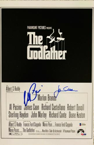 James Cahn & Al Pacino Signed 11 x 17 The Godfather Movie Poster Photo - Beckett