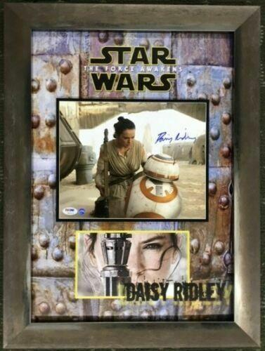 DAISY RIDLEY (STAR WARS-The Force Awakens) signed 8x10 custom framed display-PSA