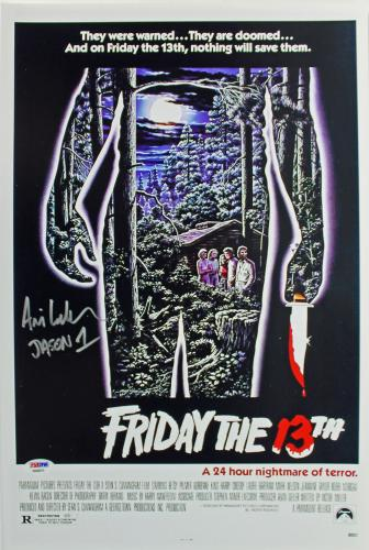 "Ari Lehman ""Jason 1"" Signed Friday The 13th 12x18 Mini Poster PSA/BAS"