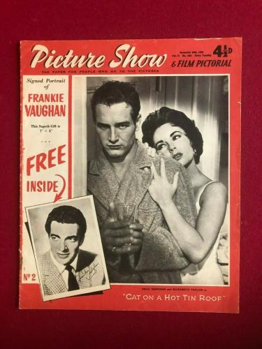 "1958, Paul Newman, ""Picture Show"" Magazine (No Label) Scarce / Vintage"