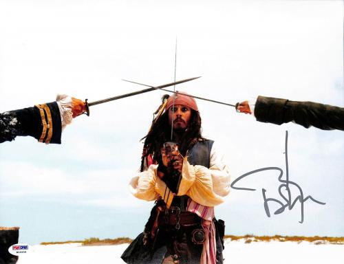 Johnny Depp Pirates Of The Caribbean Signed 11x14 Graded 10! Photo PSA #W04456