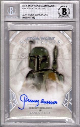"2016 Star Wars Masterwork JEREMY BULLOCH ""Boba Fett"" Signed Card #34 BAS Slabbed"