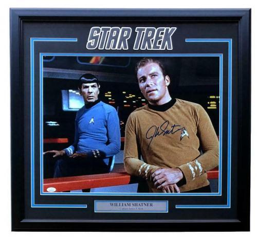 William Shatner Signed Framed Star Trek 16x20 w/ Spock Photo JSA