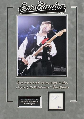 Eric Clapton Signed 2.25x2.75 Matted Cut Signature BAS #A88712