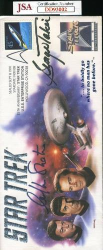 William Shatner George Takei Jsa Coa Hand Signed First Day Cover Fdc Autograph