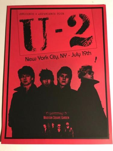 U2 New York City MSG 2015 Poster 214/300 Sold Out Mint Condition 18 x 24 Bono