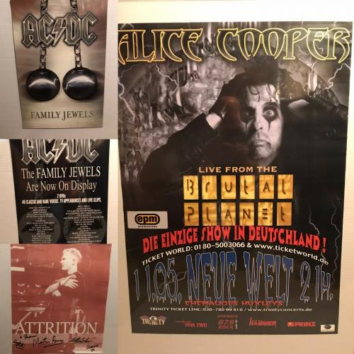 AC/DC Family Jewels Alice Cooper Brutal Planet & Band Signed Attrition Poster