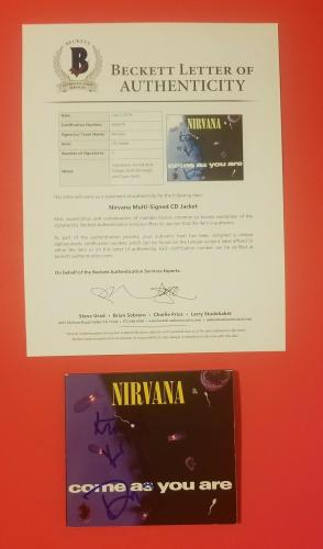 "Nirvana Complete X3 Signed ""come As You Are"" Cd Kurt Cobain Dave Grohl Novoselic"