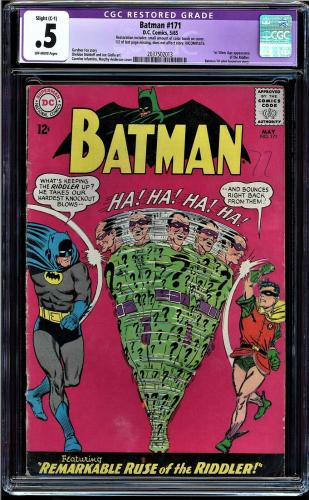 Batman #171 Cgc .5 1st Silver Age Appearance Of The Riddler #2037502013 Restored