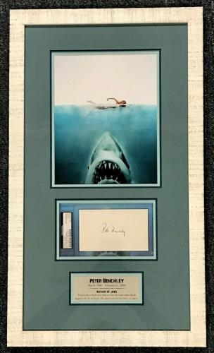 PETER BENCHLEY (Author) JAWS signed custom framed display-PSA Slabbed/Authentic