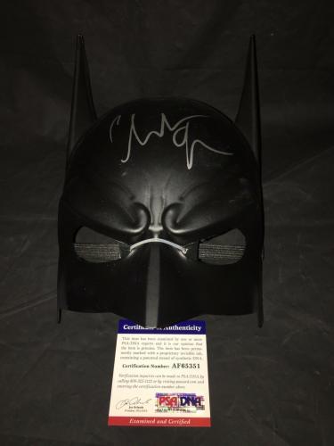 Christian Bale Signed Official Batman Funko Mask The Dark Knight PSA/DNA