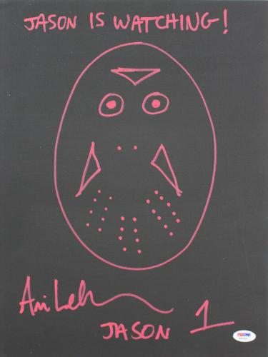 Ari Lehman Friday The 13th Signed Hand Drawn 12x16 Canvas Sketch PSA #AB33876