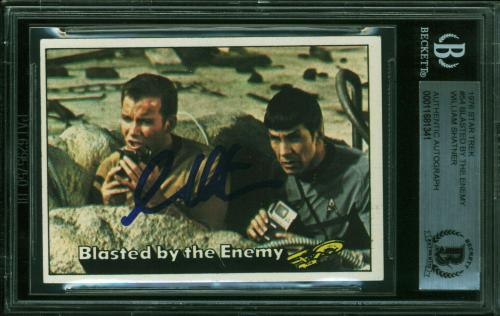 William Shatner Signed 1976 Star Trek #54 Blasted By The Enemy Card BAS Slabbed