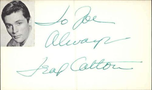 """Trax Colton Actor It Happened in Athens Signed 3"""" x 5"""" Index Card"""