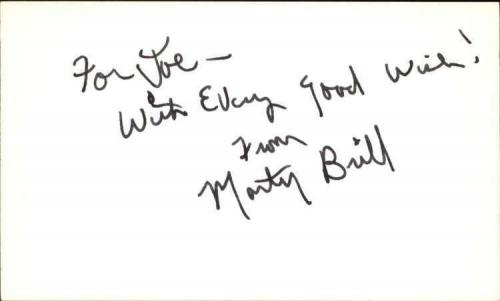 "Marty Brill Actor / Writer Dick Van Dyke Show Signed 3"" x 5"" Index Card"