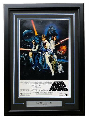 Harrison Ford Signed Framed Star Wars A New Hope 11x17 Poster Photo BAS LOA