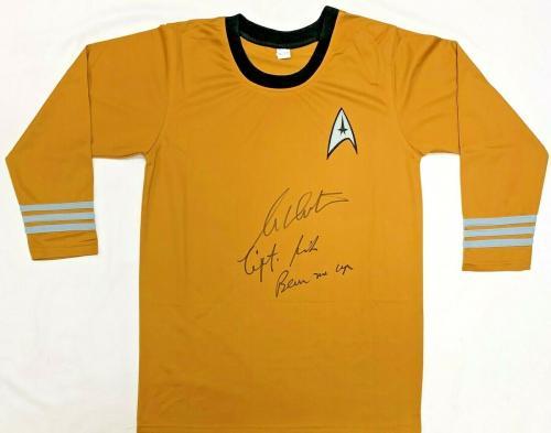 "William Shatner  Captain Kirk ""Beam Me Up"" Autographed Star Trek Shirt JSA"