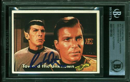 William Shatner Signed 1976 Star Trek #8 The Phaser Card BAS Slabbed