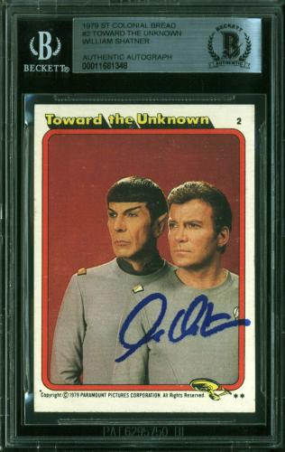 William Shatner Signed 1979 Star Trek #2 Toward The Unknown Card BAS Slabbed