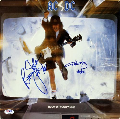 """Angus Young & Brian Johnson """"AC/DC"""" Signed Album Cover W/ Vinyl PSA/DNA #Z96969"""