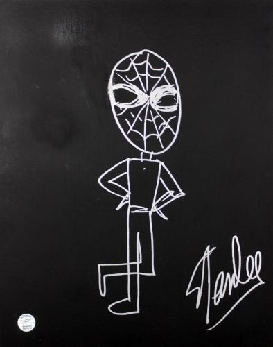 Stan Lee Signed 16x20 Canvas w/ Spider-man Sketch PSA/DNA #W00382