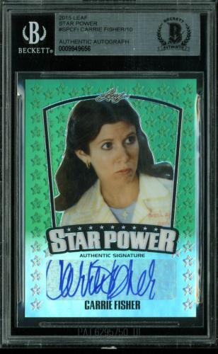 Carrie Fisher Signed 2015 Leaf Star Power #SPCFI LE #1/10 BAS Slabbed