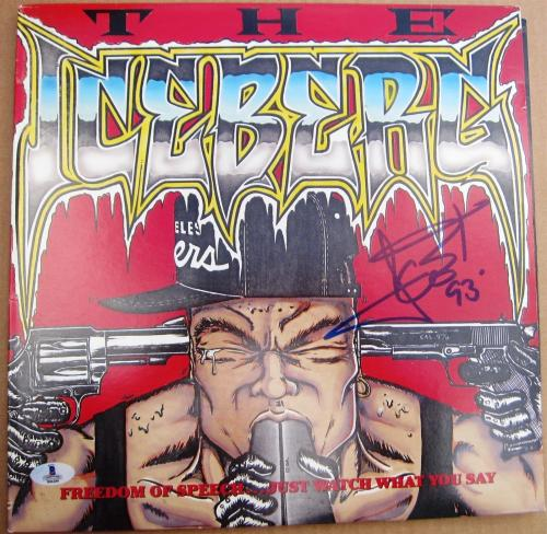 Ice T signed LP Album Cover The Iceberg Vintage 93 auto BAS Beckett Authentic