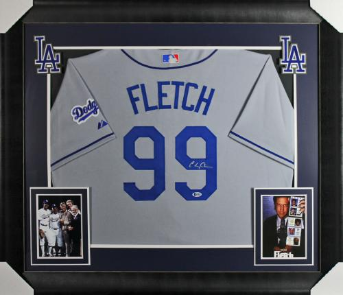 f46ff564db63 Chevy Chase Fletch Signed   Framed Grey Majestic Dodgers Jersey BAS  Witnessed