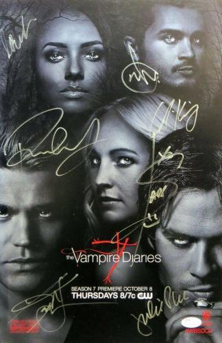 The Vampire Diaries Cast Autographed 11x17 Poster Wesley Plec Somerhalder JSA