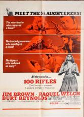100 Rifles 1969 sheet Movie Poster Starring Jim Brown Raquel Welch Burt Reynolds