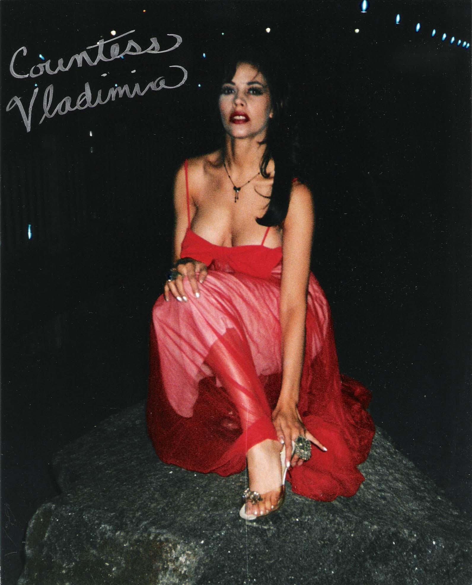 "COUNTESS VLADIMIRA ""DEMONIC DIVA"" SCREAM QUEEN ACTRESS Signed 8x10 Color Photo"