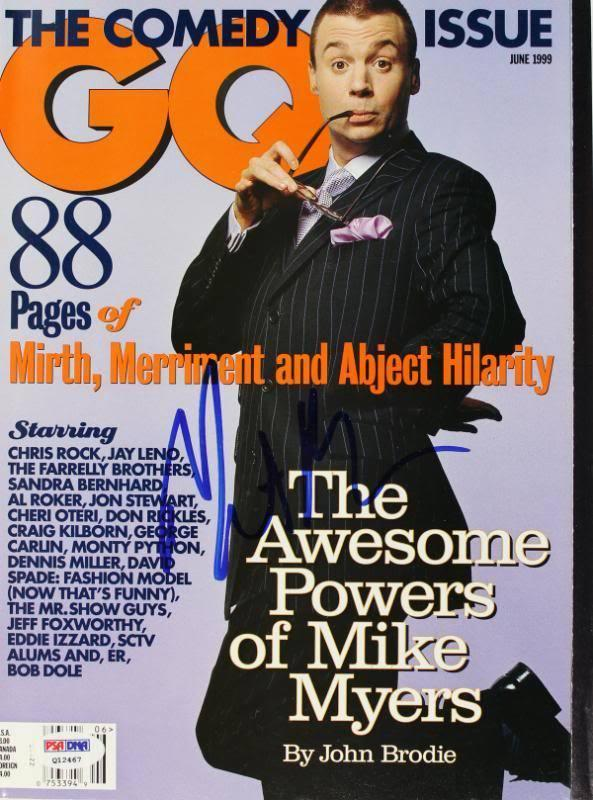 Mike Myers Signed 1999 Gq Magazine PSA/DNA #Q12467