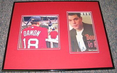 Matt Damon Red Sox Signed Framed 16x20 Photo Display JSA