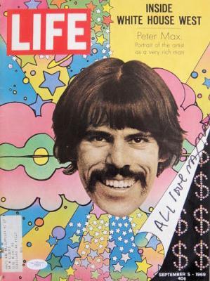 Peter Max Signed RARE 9-5-1969 Life Magazine JSA