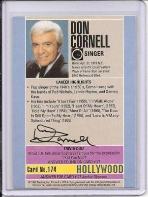 Don Cornell Signed Starline Hollywood card