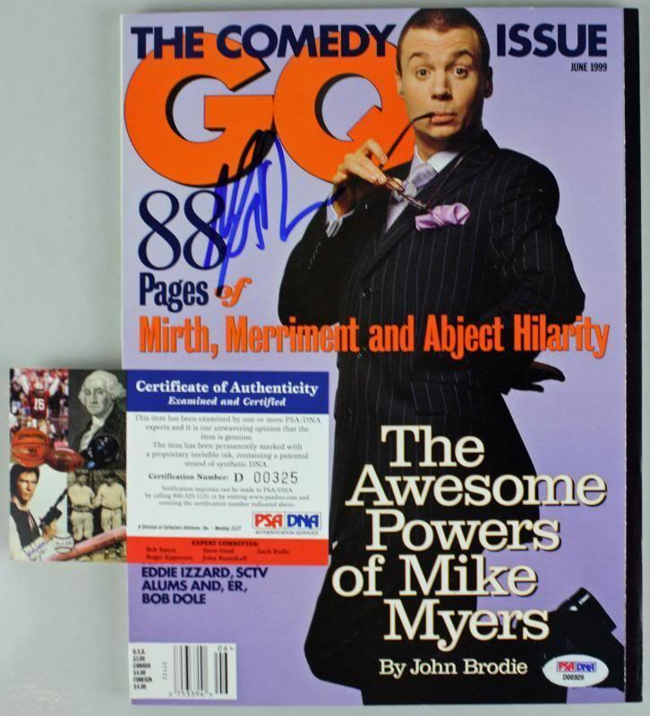 Mike Myers Signed Autographed 1999 Gq Magazine PSA/DNA #D00325