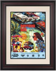 "Framed 10 1/2"" x 14"" 15th Annual 1973 Daytona 500 Program Print - Mounted Memories"