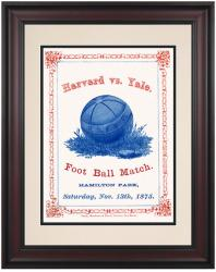 1875 Yale Bulldogs vs Harvard Crimson 10 1/2 x 14 Framed Historic Football Poster - Mounted Memories