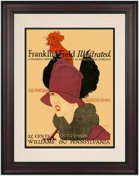 1926 Penn Quakers vs Williams Ephs 10 1/2 x 14 Framed Historic Football Poster - Mounted Memories