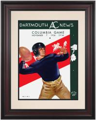 1936 Dartmouth Big Green vs Columbia Lions 10 1/2 x 14 Framed Historic Football Poster - Mounted Memories