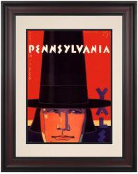 1936 Yale Bulldogs vs Penn Quakers 10 1/2 x 14 Framed Historic Football Poster