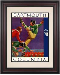 1937 Columbia Lions vs Dartmouth Big Green 10 1/2 x 14 Framed Historic Football Poster - Mounted Memories