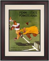 1939 Penn Quakers vs Penn State Nittany Lions 10 1/2 x 14 Framed Historic Football Poster - Mounted Memories