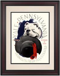 1940 Penn Quakers vs Yale Bulldogs 10 1/2 x 14 Framed Historic Football Poster