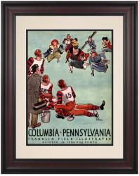 1942 Penn Quakers vs Columbia Lions 10 1/2 x 14 Framed Historic Football Poster - Mounted Memories
