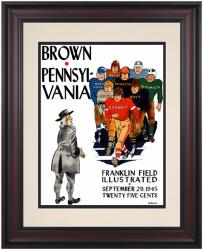 1945 Penn Quakers vs Brown Bears 10 1/2 x 14 Framed Historic Football Poster - Mounted Memories