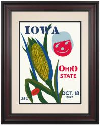 1947 Ohio State Buckeyes vs Iowa Hawkeyes 10 1/2 x 14 Framed Historic Football Poster - Mounted Memories