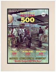 "Matted 10 1/2"" x 14"" 8th Annual 1966 Daytona 500 Program Print"